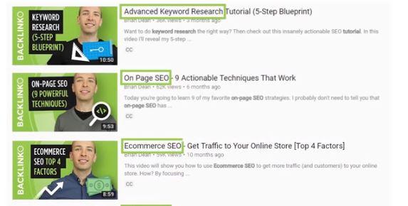 Inclure des mots clés dans le titre de la vidéo - Source : YouTube SEO / Brian Dean