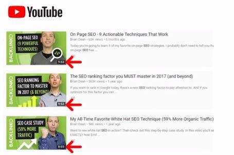 Une vidéo entre 8 et 15 mn pour Youtube - Source : Youtube SEO - Brian Dean